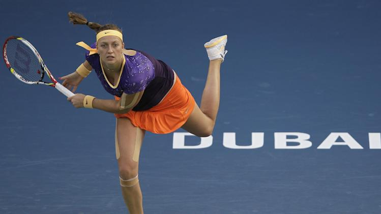 Petra Kvitova from the Czech Republic serves the ball to Slovakia's Daniela Hantuchova during the second day of the Dubai Duty Free Tennis Championships in Dubai, United Arab Emirates, Tuesday, Feb. 19, 2013. (AP Photo/Kamran Jebreili)