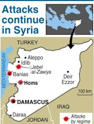 Map showing attacks by Syrian forces despite the presence of UN observers. Nearly 60 people were reported killed in violence across Syria on Monday despite a hard-won ceasefire and the upcoming deployment of 300 UN observers to monitor the truce, a watchdog said