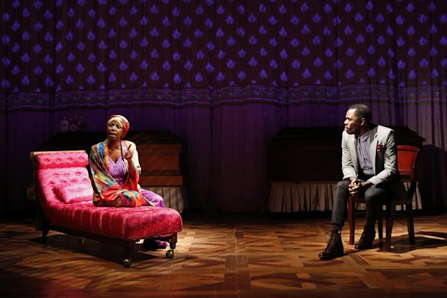 This theater image released by The Public Theater shows Sharon Washington, left, and Colman Domingo in a scene from Domingos new play &quot;Wild With Happy,&quot; performing off-Broadway at The Public Theater in New York. (AP Photo/Public Theater, Joan Marcus)