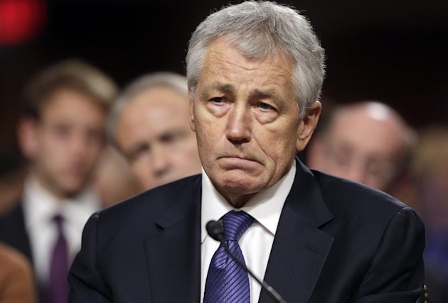 FILE - In this Jan. 31, 2013, file photo, Republican Chuck Hagel, President Obama's choice for Defense Secretary, testifies before the Senate Armed Services Committee during his confirmation hearing o