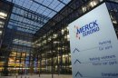 The new logo of bio pharmaceutical company Merck Serono SA is pictured outside the new headquarters in Geneva