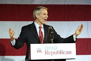 U.S. Sen. Portman (R-OH) speaks to the crowd at Ohio Republican U.S. Senate candidate Mandel's election night rally in Columbus, Ohio