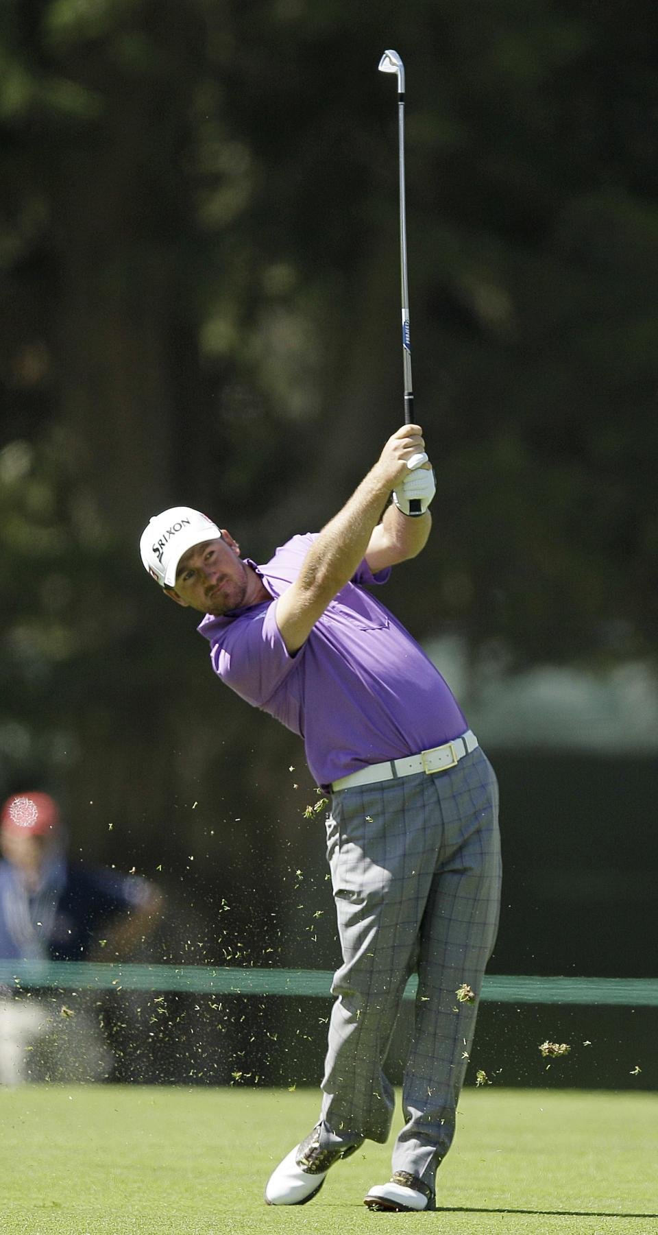Graeme McDowell, of Northern Ireland, hits a shot on the fifth hole during the third round of the U.S. Open Championship golf tournament Saturday, June 16, 2012, at The Olympic Club in San Francisco. (AP Photo/Eric Risberg)
