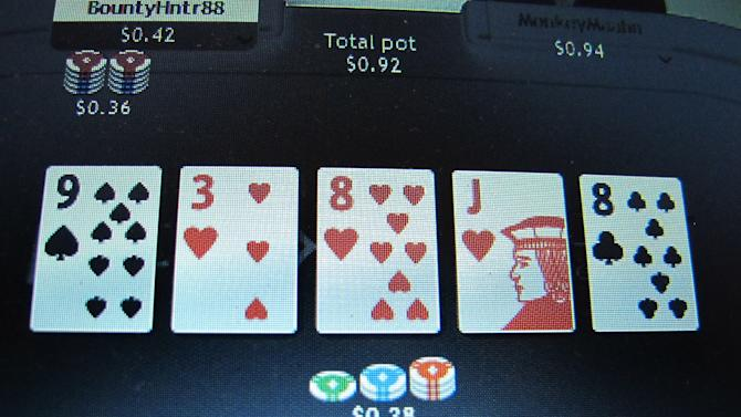 This Nov. 19, 2013 photo taken from a computer screen in Atlantic City, N.J., shows a game of online poker in progress on the global partypoker.com site. The site's parent company, bwin.party, is partnered with Atlantic City's Borgata Hotel Casino & Spa and will begin offering a test of Internet gambling to New Jersey residents on Nov. 21. Company officials say the global site is very similar to what New Jersey residents will experience when they log on. New Jersey is the third state in the nation to legalize online gambling. (AP Photo/Wayne Parry)