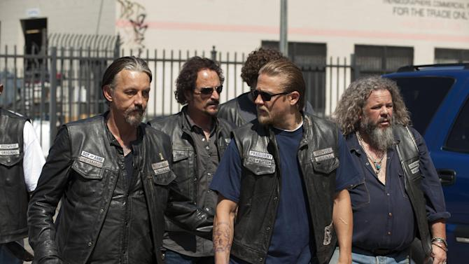 "This undated image released by FX shows, from left, Tommy Flanagan as Filip 'Chibs' Telford, Kim Coates as Alex 'Tig' Trager, Charlie Hunnam as Jackson 'Jax' Teller, Mark Boone Junior as Robert 'Bobby' Munson from the FX series ""Sons of Anarchy."" (AP Photo/FX, Prashant Gupta)"