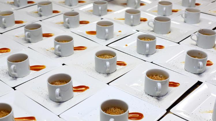 A coffee-soda dessert by Chef Ryan Scott demonstrates the quality of McDonald's raw ingredients at a McDonald's culinary event for charity. The event was held at the California Culinary Academy on Thursday, Oct. 4, 2012, in San Francisco. Three well-known Bay Area chefs prepared nine signature dishes, made from ingredients found at  your local McDonalds. (Photo by Tomas Ovalle/Invision for McDonald's/AP Images)