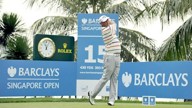 Thomas Bjorn of Denmark playing a shot during day three of the Barclays Singapore Open Golf tournament at the Sentosa Golf Club (AFP/World Sport Group)