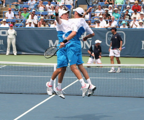 The Bryan brothers performing their signature celebratory move.
