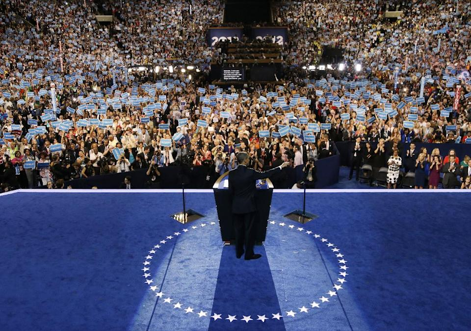 President Barack Obama speaks to delegates at the Democratic National Convention in Charlotte, N.C., on Thursday, Sept. 6, 2012. (AP Photo/Charlie Neibergall)