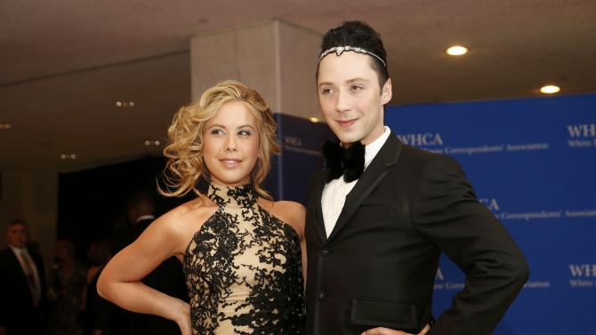 Figure skaters Lipinski and Weir arrive for the annual White House Correspondents' Association dinner in Washington