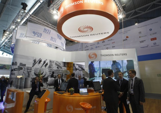 A booth from Thomson Reuters is seen during the St. Petersburg International Economic Forum