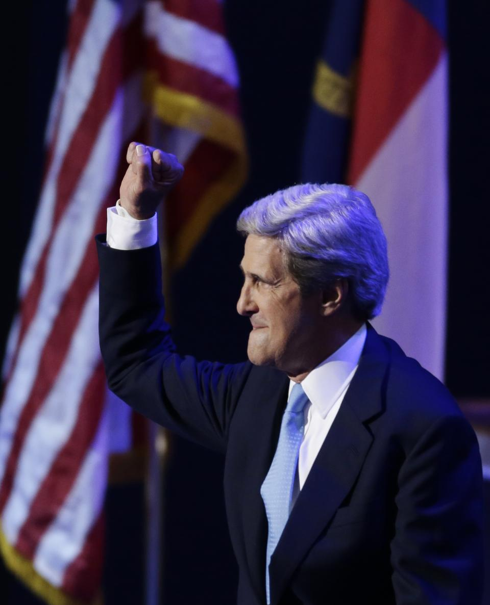 Sen. John Kerry of Massachusetts arrives to speak to delegates at the Democratic National Convention in Charlotte, N.C., on Thursday, Sept. 6, 2012. (AP Photo/Lynne Sladky)