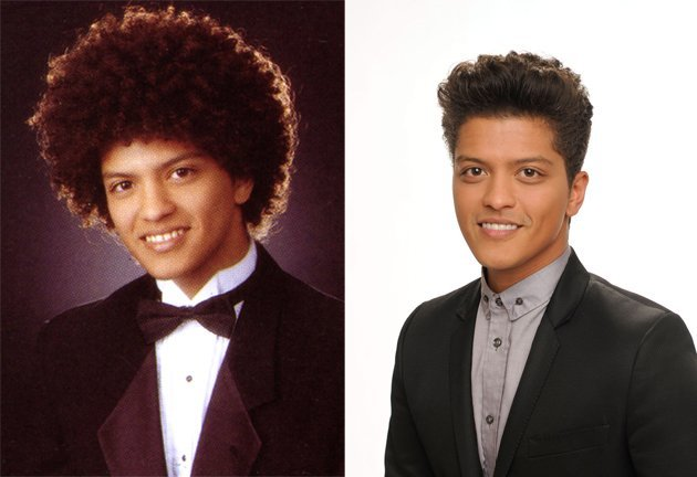 Bruno Mars in 2003 and Now: How adorable was a young Peter Gene Hernandez a.k.a. Bruno Mars and his huge Afro in 2003! The Hawaiian-born singer was raised in a musical family and was performing on sta
