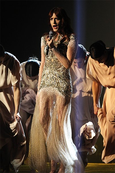 Flo chose this McQueen dress to perform &quot;No Light, No Light&quot; at this year's Brit Awards. With its intricate embroidery and beadwork, the gown could easily take her from the red carpet to the stage, bu