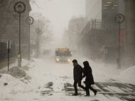 Pedestrians brave the blizzard conditions in Halifax on Friday, Jan. 3, 2014. The region is in the grip of unseasonably cold temperatures with heavy snow and high winds. THE CANADIAN PRESS/Andrew Vaughan