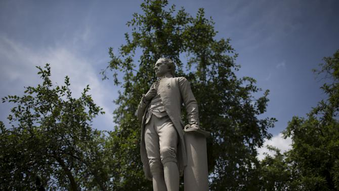 A statue of Alexander Hamilton stands in New York's Central Park