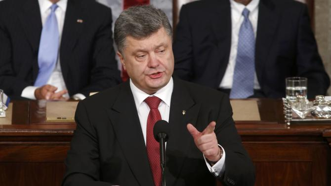 Ukraine President Poroshenko addresses a joint meeting of Congress in the U.S. Capitol in Washington
