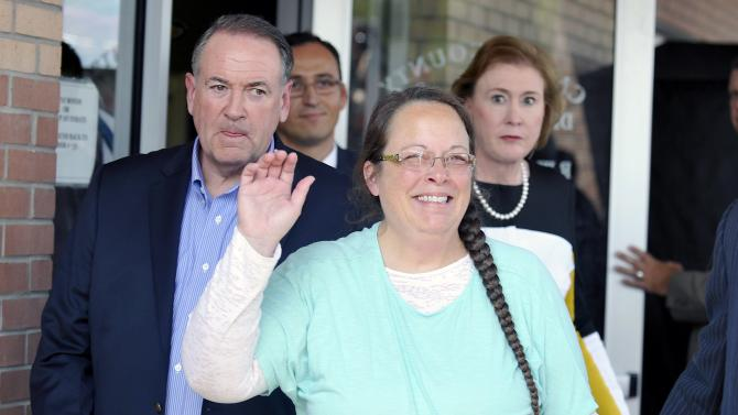 File photo of Kim Davis as she walks out of jail in Grayson Kentucky