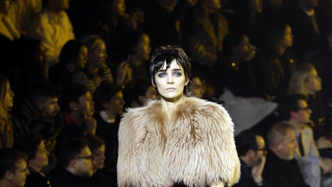 A model is shown during the Marc Jacobs Fall 2013 fashion show Fashion Week in New York, Thursday, Feb. 14, 2013.  (AP Photo/Kathy Willens)