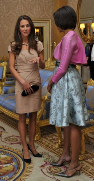 Kate Middleton's tan Reiss dress inspired a similar gown by Banana Republic