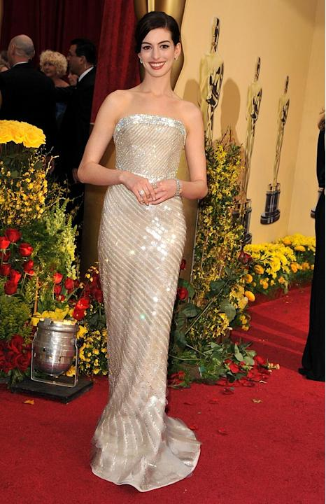 Actress Anne Hathaway arrives at the st Annual Academy Awards held at The Kodak Theatre on February in Hollywood California