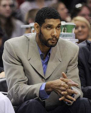San Antonio Spurs forward Tim Duncan sits on the bench …