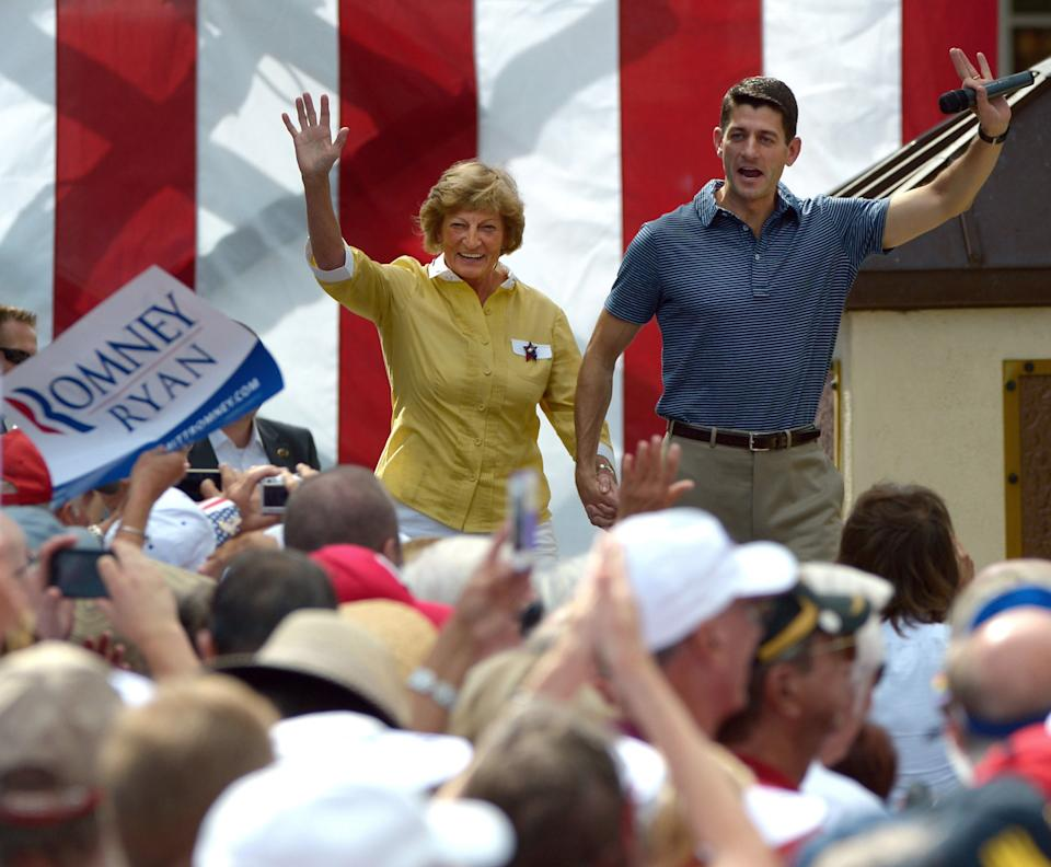 RETRANSMISSION FOR ALTERNATE CROP - Republican vice-presidential candidate Rep. Paul Ryan, R-Wis., right, and his mother Betty Ryan Douglas wave to supporters at a campaign rally in The Villages, Fla., Saturday, Aug. 18, 2012.(AP Photo/Phelan M. Ebenhack)