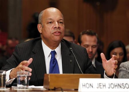 Jeh Johnson testifies before the confirmation hearing on his nomination to be the Homeland Security Secretary on Capitol Hill in Washington