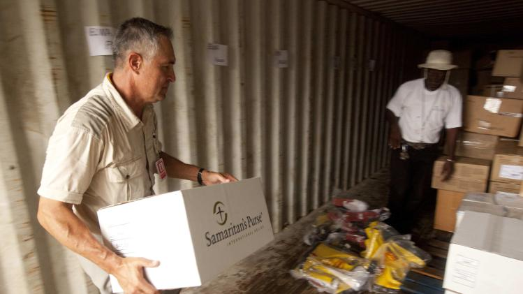 A Samaritan's Purse volunteer helps with supplies in Liberia in this undated handout photo
