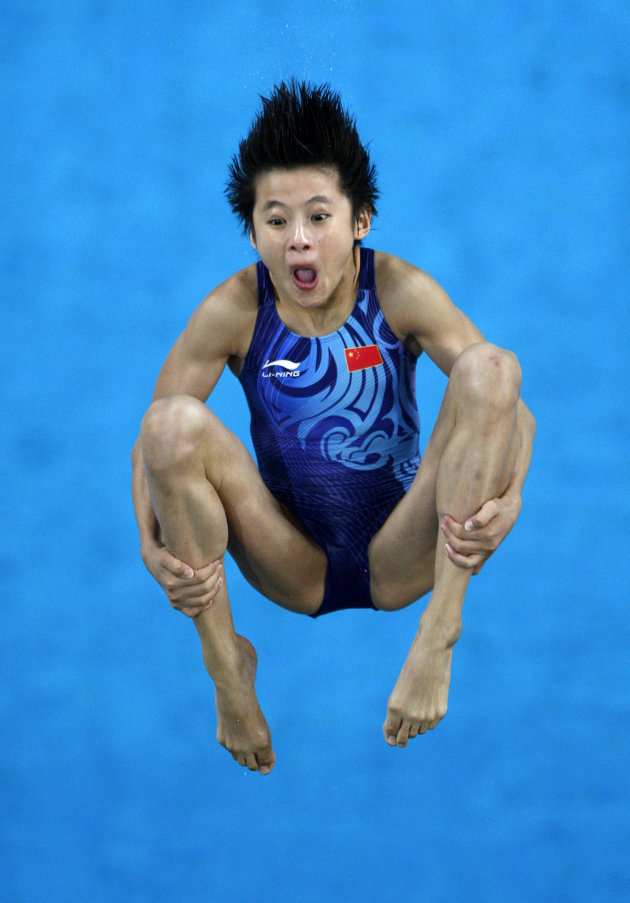 Wang Xin of China competes in the women's 10m platform diving preliminary round at the Beijing 2008 Olympic Games