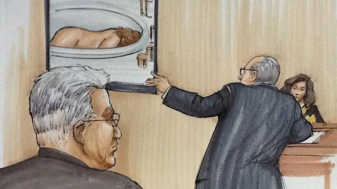 In this courtroom sketch, Drew Peterson, foreground left, looks on as defense attorney Joe Lopez cross examines Kathleen Savio's neighbor, Mary Pontarelli, as they view a photo of Savio's lifeless body in the tub of her home, Tuesday, July 31, 2012, in Joliet, Ill., during the first day of Drew Peterson's murder trial. Peterson is charged in the 2004 death of Savio, his third wife. (AP Photo/Tom Gianni)