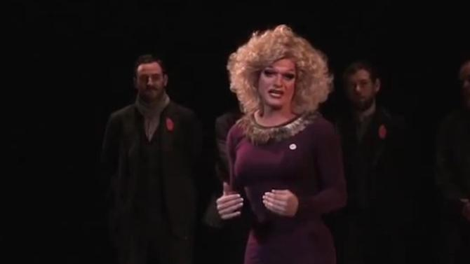 This image made from video taken Saturday Feb. 8, 2014 and made available by Miss Panti Bliss aka Rory O'Neill, shows Miss Panti Bliss making a speech in Dublin. The drag queen of Ireland, Miss Panti Bliss, has driven a stiletto heel through this nation's long-running debate on gay rights. Panti has become a YouTube sensation in a dozen languages, thanks to a single, celebrated speech on anti-gay prejudice in Ireland. (AP Photo/Miss Panti Bliss)
