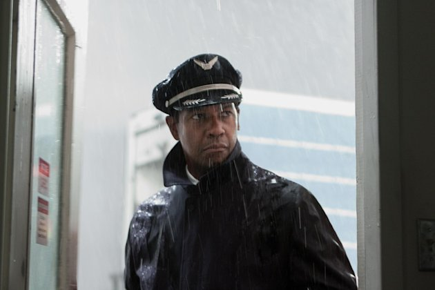 This film image released by Paramount Pictures shows Denzel Washington portraying Whip Whitaker in a scene from &quot;Flight.&quot; Washington plays an airline pilot who, despite being hung-over, drunk and coked-up, manages to bring down a rapidly deteriorating plane in a daring emergency landing on what should have been a routine flight between Orlando, Fla., and Atlanta. (AP Photo/Paramount Pictures, Robert Zuckerman)