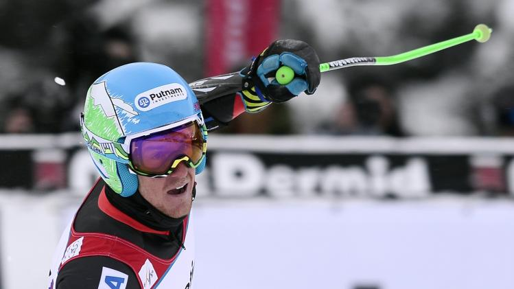 Ligety of the U.S. celebrates after winning the men's World Cup Giant Slalom ski race in Beaver Creek