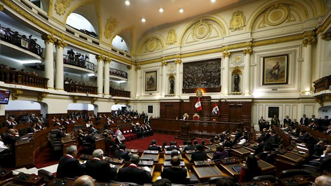 Peruvian President Humala addresses the nation during a speech at Congress on Independence Day in Lima