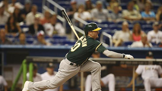 A's score 4 in 9th to beat Marlins 9-5