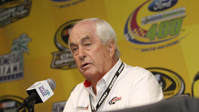 Roger Penske, owner of the Penske racing team, speaks at a NASCAR news conference at Homestead-Miami Speedway in Homestead, Fla., Friday, Nov. 16, 2012. (AP Photo/David Graham)