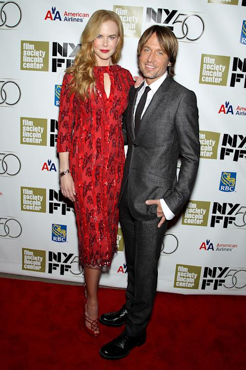 """This image released by Starpix shows actress and honoree Nicole Kidman, left, and her husband Keith Urban at a gala by The Film Society of Lincoln Center following by the premiere of  her film, """"The P"""