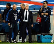 French national football head coach Didier Deschamps (C) and assistant coach Guy Stephan (L) react at the end of the friendly football match France vs Uruguay at the Oceane stadium in Le Havre, western France. Deschamps said he would not allow dissent from France&#39;s fans to intrude upon his memories of his first match in charge of the national team, after their 0-0 draw