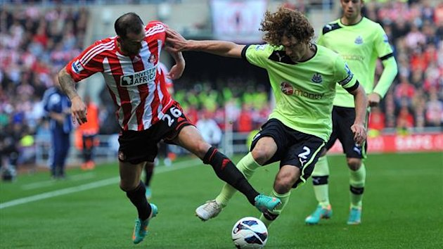 Sunderland's Steven Fletcher (left) and Newcastle United's Fabricio Coloccini (right) battle for the ball