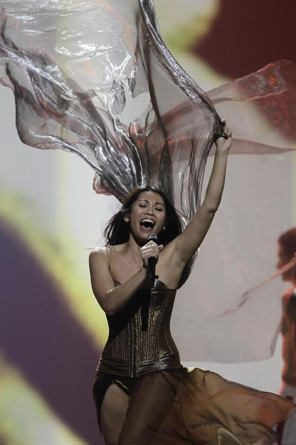 France Anggun perform during rehearsal for the final show of the 2012 Eurovision Song Contest at the Baku Crystal Hall in Baku, Friday, May 25, 2012. The finals of the 2012 Eurovision Song Contest will be held at the stadium on May 26, 2012. (AP Photo/Sergey Ponomarev)