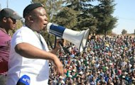 IN ACTION: Former ANC Youth League leader Julius Malema addresses miners at Gold Fields' Kloof Driefontein Complex mine on September 3. Picture: PUXLEY MAKGATHO