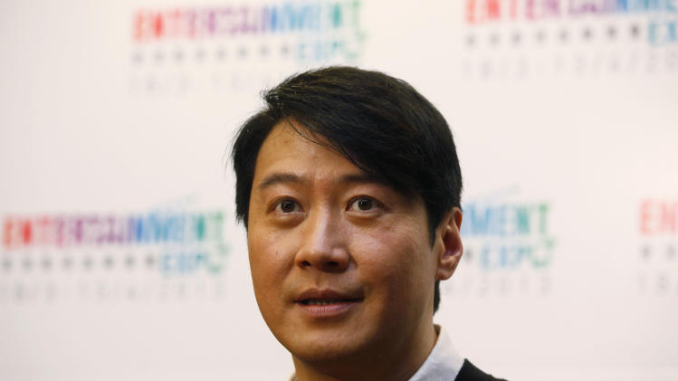 Hong Kong actor Leon Lai appears at the news conference on the annual Entertainment Expo in Hong Kong Tuesday, Feb. 26, 2013. Lai appointed Entertainment Expo ambassador promoting Hong Kong's film, TV and entertainment industry. (AP Photo/Kin Cheung)