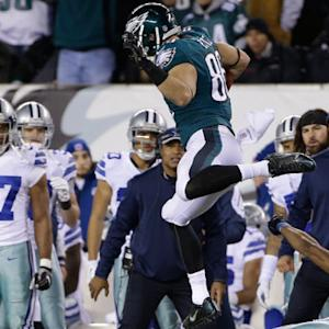Philadelphia Eagles tight end Zach Ertz hurdles for a first down
