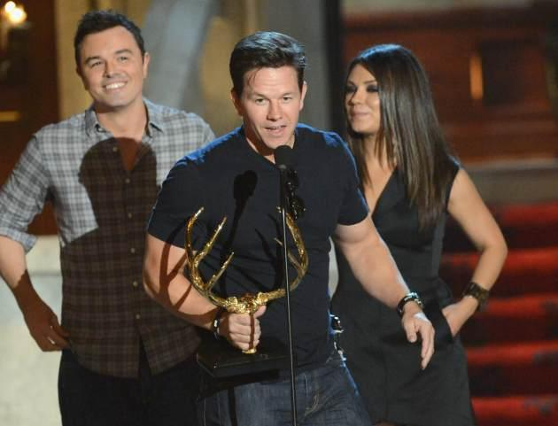 Seth MacFarlane, Mark Wahlberg and Mila Kunis speak onstage at Spike TV's 6th Annual 'Guys Choice' Awards at Sony Studios on June 2, 2012 -- Getty Images