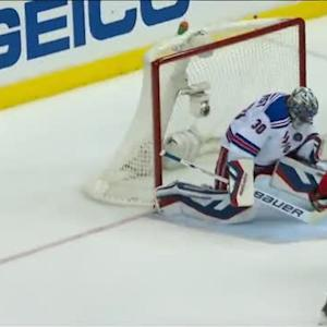 Lundqvist gets over in time to stone Ovechkin