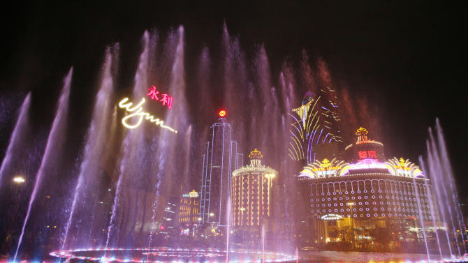 In this April 22, 2010 photo, Music fountain performs at the Wynn Macau. Macau is in the midst of one of the greatest gambling booms the world has ever known. To rival it, Las Vegas would have to attract six times as many visitors essentially every man, woman and child in America. Wynn Las Vegas now makes nearly three-quarters of its profits in Macau. Sands, which owns the Venetian and Palazzo, earns two-thirds of its revenue there. (AP Photo/Kin Cheung)