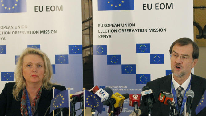 In this Thursday, Jan. 24, 2013 photo, the European Union Election Observation Mission (EU EOM) led by Chief  Observer former Prime Minister of Slovenia Alojz Peterle right, and Deputy Chief  Observer Gillian McCormack, left, address members of the media, in Nairobi, Kenya, as they launched the observer mission that will monitor Kenya's general election in March. Kenya's first nation-wide vote since devastating violence broke out after the nation's 2007 presidential election will be closely monitored by the international community and local observers to help ward off potential problems, officials said Monday, Jan. 28, 2013. The European Union observer team will be smaller in number than in 2007 — 70, down from 132 — but will spend more time in the country analyzing the buildup to the vote, said Gillian McCormack, deputy head of the EU observer mission. (AP Photo / Khalil Senosi)