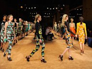 Models walk the runway at the Proenza Schouler's spring 2012 fashion show during Mercedes-Benz Fashion Week in New York.