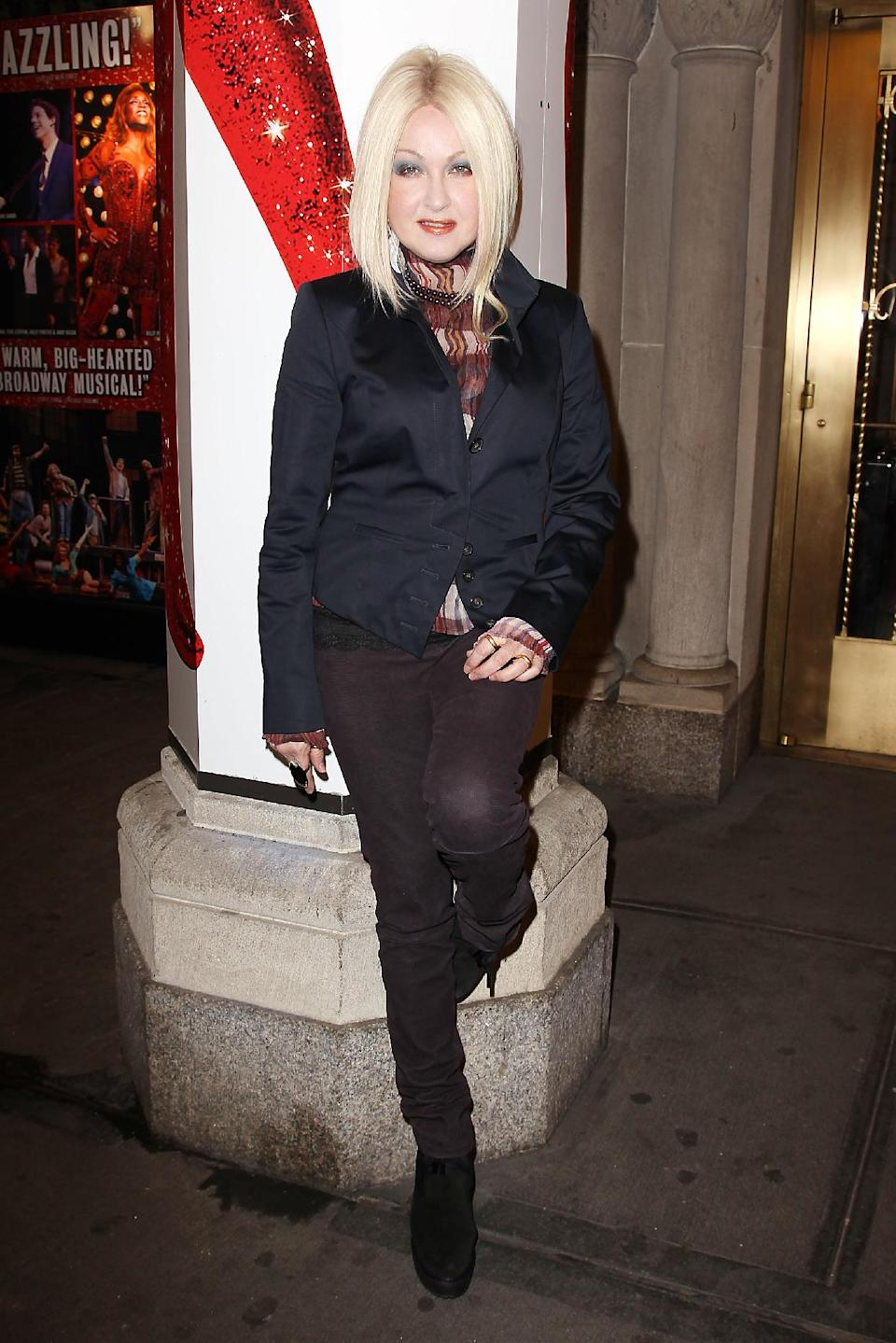 "This Feb. 28, 2013 photo released by Starpix shows, Cyndi Lauper at the open house for the Upcoming Musical ""Kinky Boots,"" featuring Music by Cyndi Lauper, at the Al Hirshfeld Theatre in New York. (AP Photo/Starpix, Kristina Bumphrey)"
